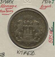 ALLEMAGNE HAMBOURG - 3 MARK 1914J - Pièce de Monnaie en Argent // TTB