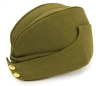 British Army Side Cap 1940's WW2 Forage Chip Hat Uniform Khaki Green Kings Crown