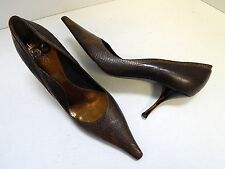 Escada Italy Brown Leather Reptile Pumps 40 US sz 9.5 M