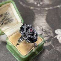 Art Deco Silver and Onyx Ring, Antique Vintage Marcasites Garnet  UK O US 7
