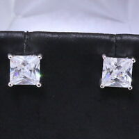 Princess White Lab Diamond Stud Earrings Women Jewelry 14K White Gold Plated