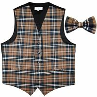 New Men's Plaid Tuxedo Vest Waistcoat & Bow tie Brown Wedding Prom formal party