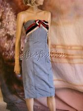 $2790 New CAROLINA HERRERA Blue Red Black Silk Vlevet Bow Strapless Dress 6