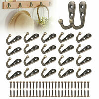 20pcs Hanging Metal Single Hook Clothes Hat Coat Robe Wall Door Hangers Hooks US