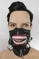 New Men Biohazard Face Mask Mouth Muzzle Costume Black Halloween Zipper S&M