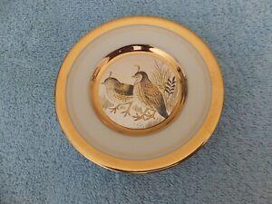 "Vintage Japanese The Art of Chokin 24KT Gold Rim Plate Pair Of Quails 4"""