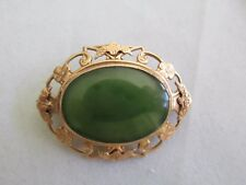 Vintage / Antique 9ct Gold and Deep Green Chrysoprase Brooch