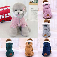 Warm Padded Dog Coat Jacket Chihuahua Pet Winter Hoodie Puppy Cat Clothes