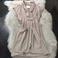 Mcginn Knightsbridge Deep V Neck Front Pockets Nude Taupe Tencel Dress Size 36