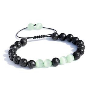 Handmade Lava Rock Stone Essential Oil Diffuser Braided Rope Yoga Beads Bracelet
