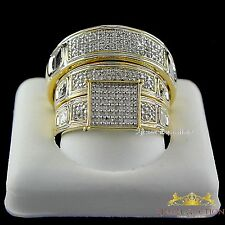 Yellow Gold Over Diamond Trio Set Engagement Ring His Her Bridal Wedding Band