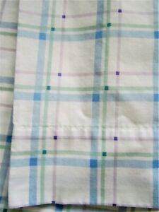 Cannon Vintage Queen Sheet Set + Pillow Cases Blue Plaid 4 Piece No Iron Cotton