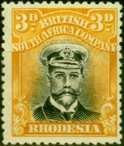 Rhodesia 1922 3d Black & Yellow SG293 Fine Mtd Mint