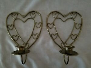 Heart Shaped with Heart Designs Brass Plated Wall Candle Holder Sconce Set of 2