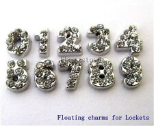 10p Crystal Floating Number Floating Charms For Glass living memory Locket FC069