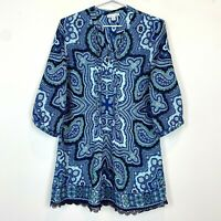 Victoria Hill Womens Blue/Green 3/4 Sleeve Long Blouse Top Size 8