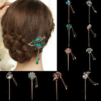 Vintage Womens Flower Peacock Hair Pin Stick Crystal Rhinetone Beads Hair Clasp