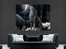 WILD WOLF FANTASY POSTER FULL MOON NIGHT SKY WALL ART LARGE HOWLING