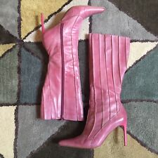 Moda In Pelle Size 6 Pink Leather Pointed Knee High Boots VGC