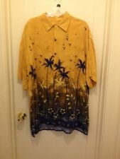 Atlantic Connection Hawaiian Button Down Shirt Yellow w/ Blue Palm Trees XL