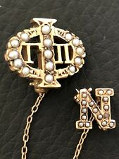 Antique Sigma Fraternity Sorority pin 14k Gold Seed Pearl with 10k Chapter