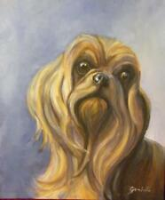 MALTESE YORKSHIRE TERRIER TYPE DOG OIL PAINTING, ADORABLE FACE LOVELY PICTURE