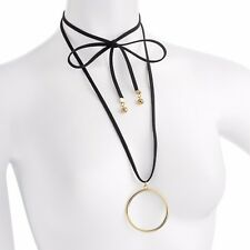 Black Suedette Rope Ring Drop Plunge Tie Wrap Choker Necklace Jewellery *SALE