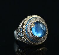 925 Sterling Silver Handmade Authentic Turkish Aqua Marine Ladies Ring Size 8