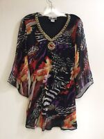 Women's Printed Embellished Polyester Missy Size Tunic Top Blouse S-M-L-XL NWT.