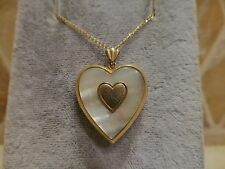 Vintage 1/20 14k yellow gold filled mother of pearl heart locket chain necklace