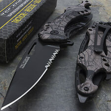 """8"""" TAC FORCE FOREST CAMO SPRING ASSISTED TACTICAL FOLDING POCKET KNIFE Open"""