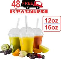 1000 Smoothie Cups And Lids 12/16oz Party Milkshake Juice Sweets + Dome Lids UK