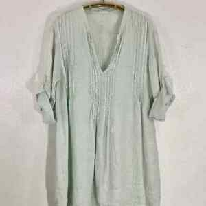 "CP SHADES ""Regina"" Mint Green Linen Tunic/Dress 3/4 Sleeve Sz L $286 USA WOW!"