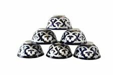 Set of 6 Uzbek floral tea cups 7-ounce dark blue Uzbekistan ceramics
