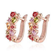 Women's 10KT Yellow Gold Filled Ruby/Peridot/Amethyst Drop/Dangle Hook Earrings