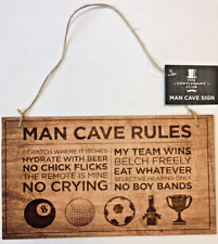 Man Cave Rules Dad Plaque Hanging Wood Sign Shed Notice Study Wooden 27cm x 15cm