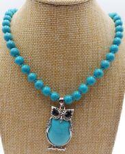 8mm Turkey Turquoise Round Beads & Owl Turquoise Pendant Necklace 18'' AAA