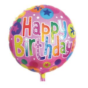 Folienballon Happy Birthday, 46cm ø - Geburtstagsfeier / Geburtstag