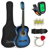 BCP 38in Beginner Acoustic Guitar Musical Instrument Kit w/ Case, Strap, Tuner