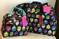 """BETSEY JOHNSON Cupcakes 22"""" Rolling Duffle Insulated Tote Bag Weekender Set NWT"""
