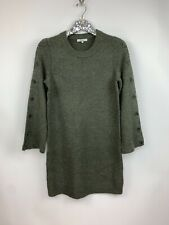 Madewell Donegal Medium Green Crew Neck Button Bell Marled L/S Sweater Dress