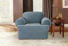 Stretch Pinstripe Two Piece  T-Chair Slipcover French Blue