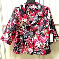 Southern Lady Womens Sz Medium Petite Pink Black Floral Career Jacket Top Blazer