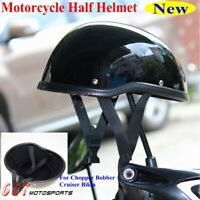 Universal Retro Motorcycle Scooter Bike Half Face Helmet Open Face Black 57-60cm