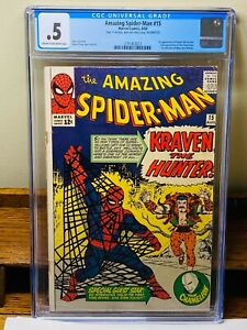 ++ASM SILVER KEY++ The Amazing Spider-Man #15 CGC 0.5 Kraven's 1st Appearance