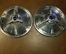 """1965 FORD MUSTANG 14"""" SPINNER Wheel Cover Hubcaps OEM set of 2"""