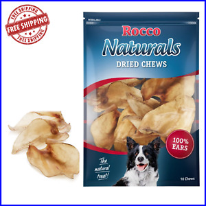ROCCO Natural Dried Cows Ears 100 Chews Low Fat Healthy Treat Long Lasting Chew