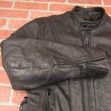 River Road Mens Black Leather Riding Coat Size 42 Motorcycle Jacket 010133