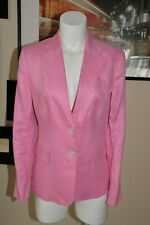 Womens Blazer LAUREN RALPH LAUREN Linen Button Front Pink Jacket Size 10 NEW