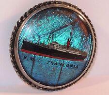 c.1923 SHIPTON CO. BLUE MORPHO R.M.S. FRANCONIA CUNARD LINER STERLING BROOCH PIN